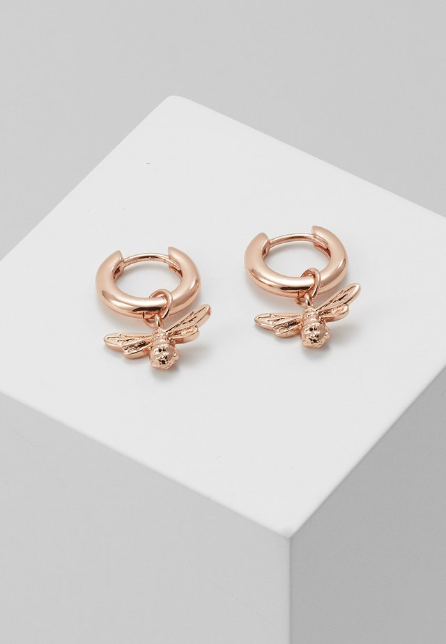 LUCKY BEE HUGGIE HOOP - Earrings - rose gold-coloured