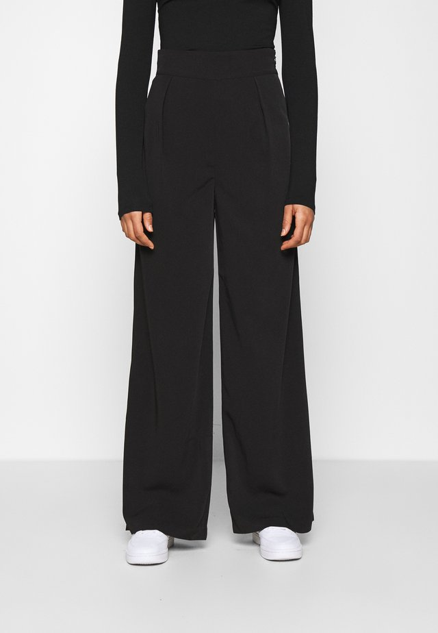 HIGH WAISTED WIDE LEG SUIT PANTS - Tygbyxor - black