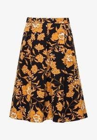 HALLHUBER - MIT BLUMENDRUCK - A-line skirt - black - 3