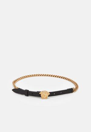 CINTURA CATENA TESSUTO GLITTER - Belt - nero/oro