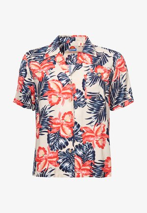 Button-down blouse - cream floral