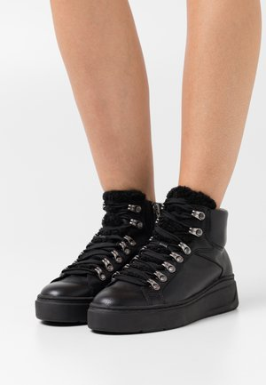 High-top trainers - black/silver