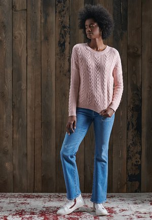 DROPPED SHOULDER CABLE CREW NECK - Jumper - nappa pink twist
