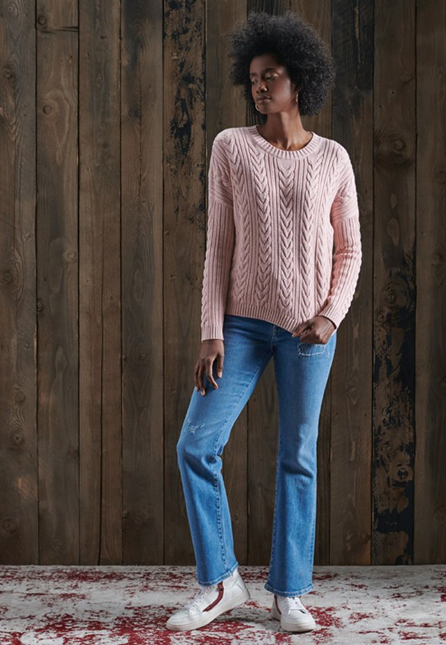 DROPPED SHOULDER CABLE CREW NECK - Sweter - nappa pink twist