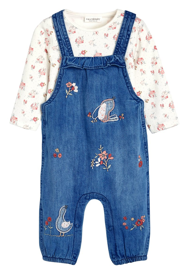 Next - DENIM BUNNY EMBROIDERED DUNGAREES AND FLORAL BODYSUIT SET (0MTHS - Body - blue
