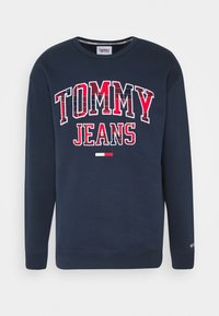 Tommy Jeans - PLAID GRAPHIC CREW - Bluza - twilight navy - 0