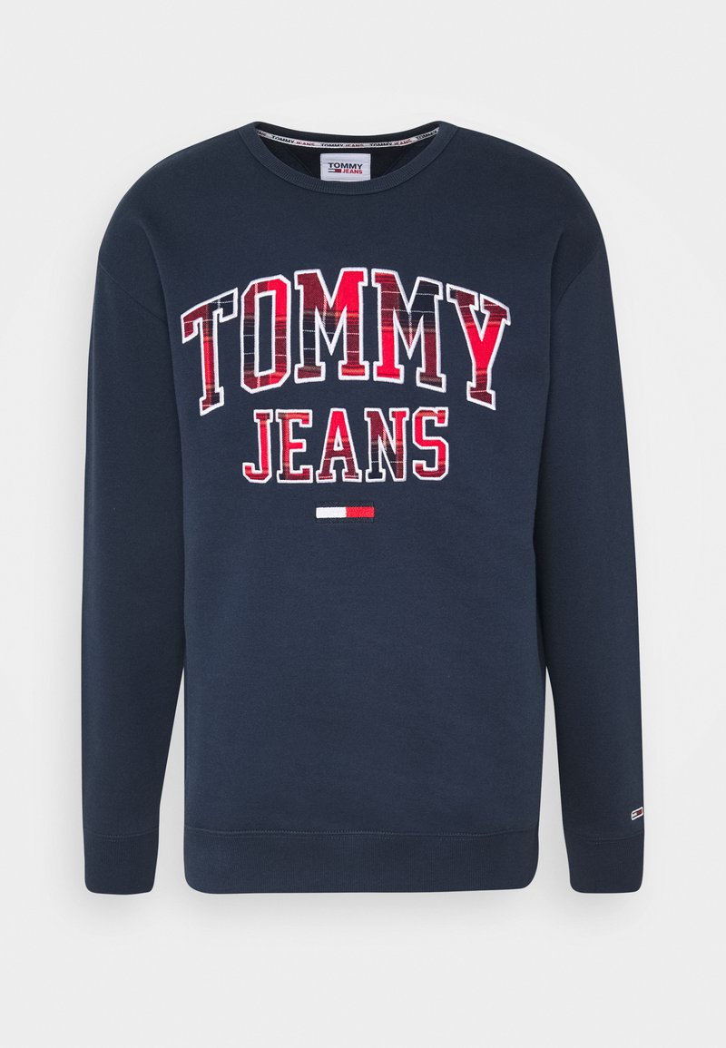 Tommy Jeans - PLAID GRAPHIC CREW - Bluza - twilight navy