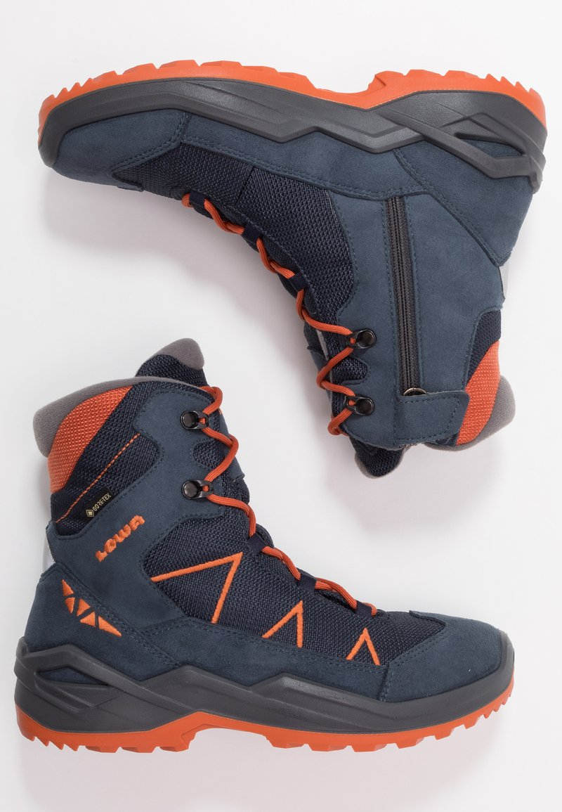 Lowa - JONAS GTX MID UNISEX - Winter boots - blau/orange
