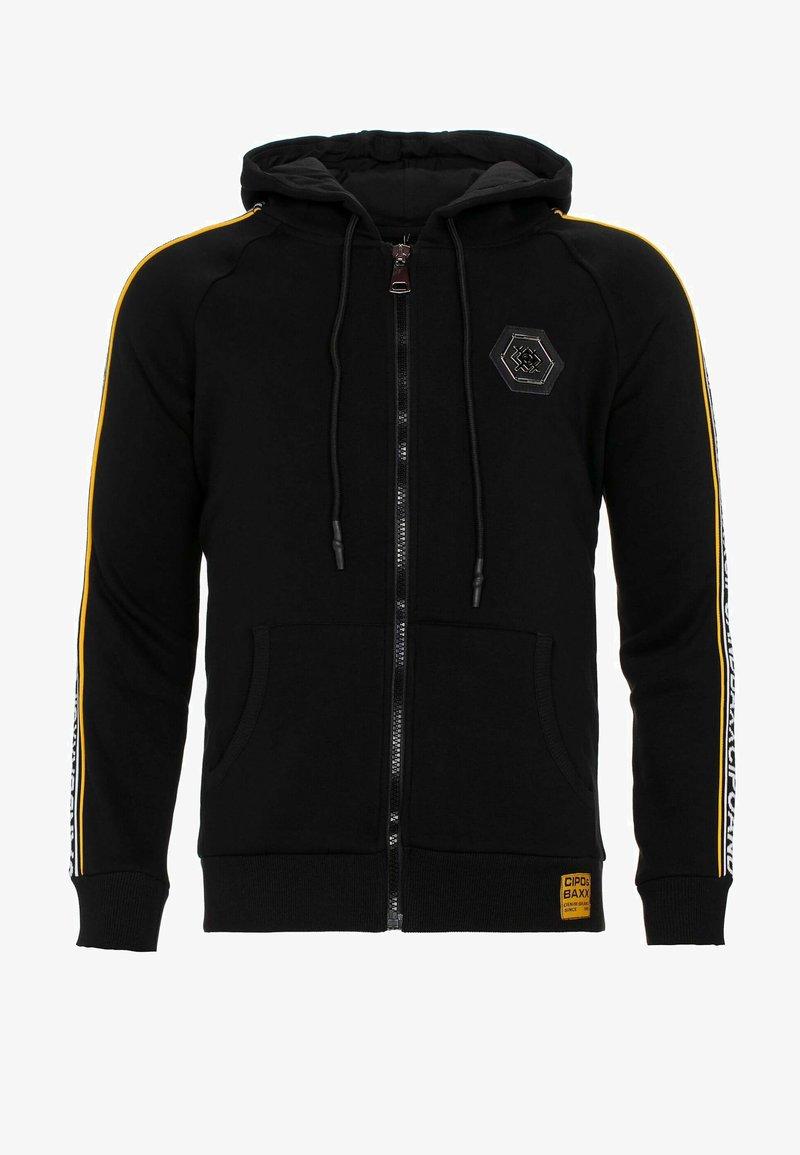 Cipo & Baxx - MIT MARKENSCHRIFTZÜGEN AM ARM - Zip-up hoodie - black