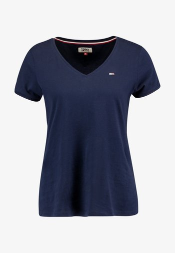 SOFT V NECK TEE - Basic T-shirt - black iris