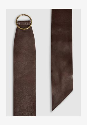 TAN WIDE TURTLE BUCKLE BELT - Belt - brown