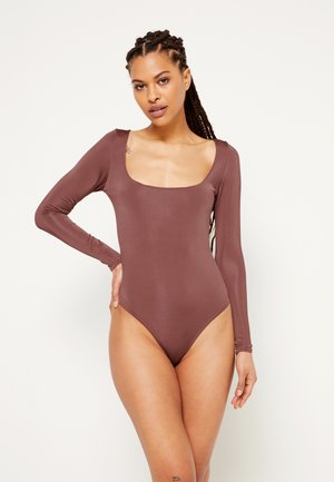 ASSET SCULPTED SLINKY SQUARE NECK - Long sleeved top - chocolate