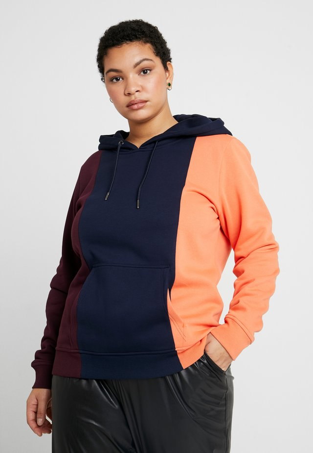 LADIES TRIPPLE HOODY - Sweat à capuche - redwine/midnightnavy