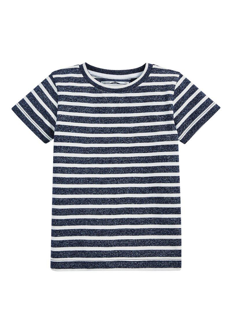 Next - NAVY/WHITE SHORT SLEEVE STRIPED T-SHIRT (3MTHS-7YRS) - Print T-shirt - blue