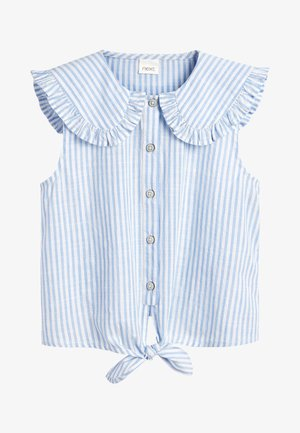 TIE FRONT - Button-down blouse - blue