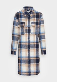 TOM TAILOR DENIM - LONG CHECK OVERSHIRT - Classic coat - cosy blue - 3