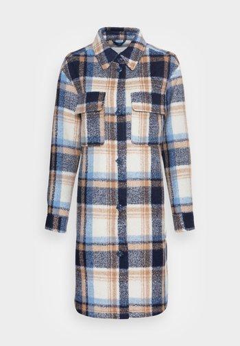 LONG CHECK OVERSHIRT - Classic coat - cosy blue