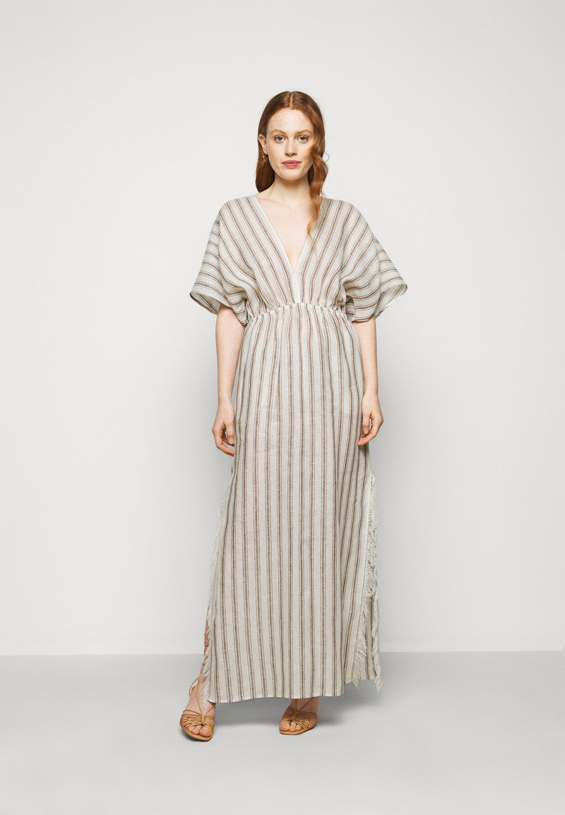 Tory Burch - STRIPED CAFTAN - Maxi dress - ivory/anise brown
