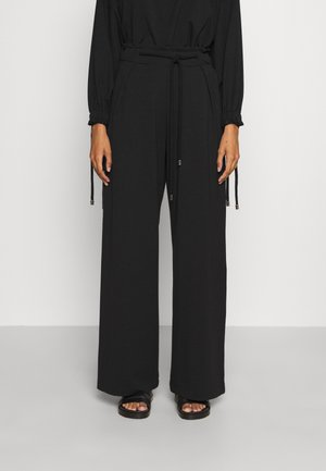 WIDE LEG JOGGER WITH ROPE TIE - Tracksuit bottoms - black