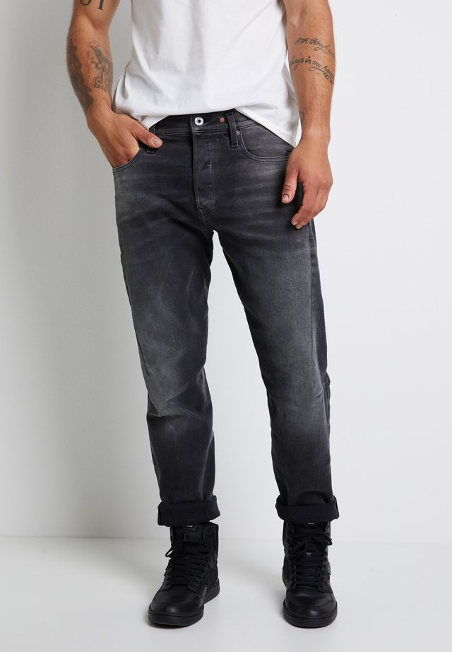 SCUTAR 3D SLIM TAPERED - Vaqueros tapered - nero black stretch- antic charcoal