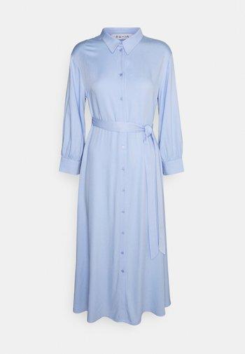 BELTED 3/4 SLEEVE SHIRT MIDI DRESS - Shirt dress - blue