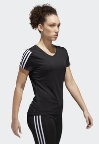 adidas Performance - RUNNING 3-STRIPES T-SHIRT - T-Shirt print - black - 3