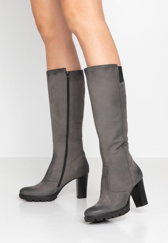 LEATHER PLATFORM BOOTS - Platform boots - grey
