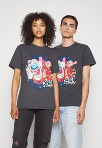 Tommy Jeans - ABO TJU X REN AND STIMPY TEE UNISEX - T-Shirt print - blackout - 0