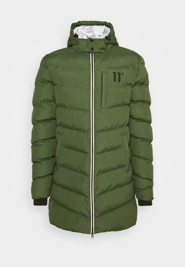 LONG LINE CHEVRON PUFFER - Winter coat - forest green