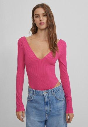 Top sdlouhým rukávem - neon pink