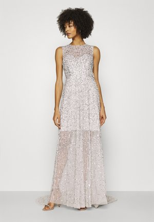 ALL OVER EMBELLISHED MAXI DRESS WITH TRAIN - Abito da sera - soft grey