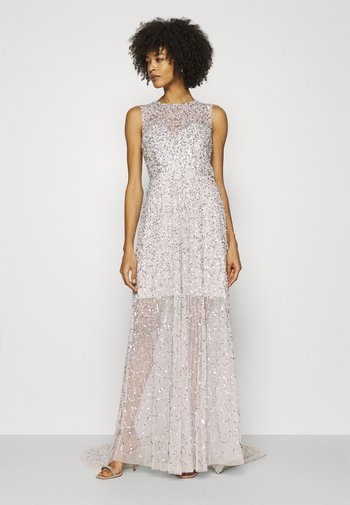 ALL OVER EMBELLISHED MAXI DRESS WITH TRAIN