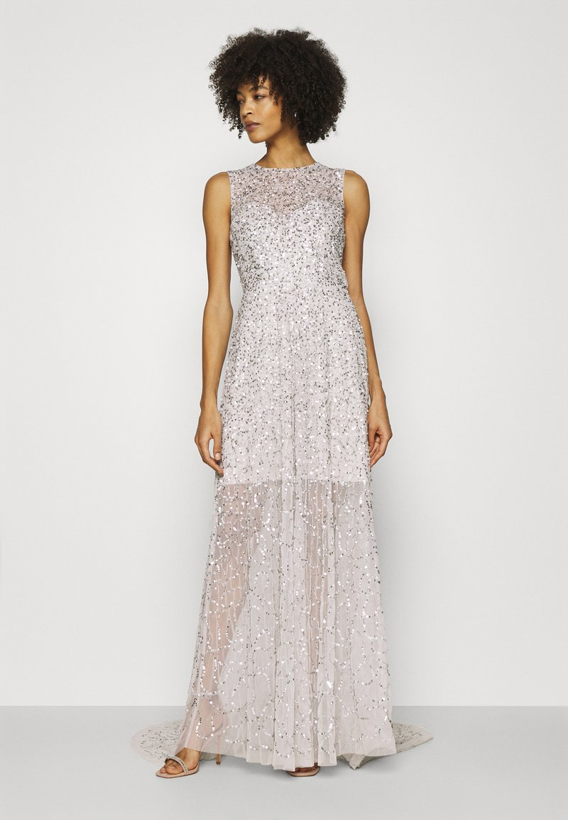 Maya Deluxe - ALL OVER EMBELLISHED MAXI DRESS WITH TRAIN - Iltapuku - soft grey