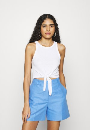 CROPPED TIE FRONT TANK - Top - true white