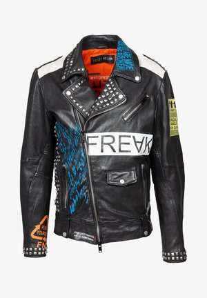 MR.ACE - Leather jacket - black/flame/chalk