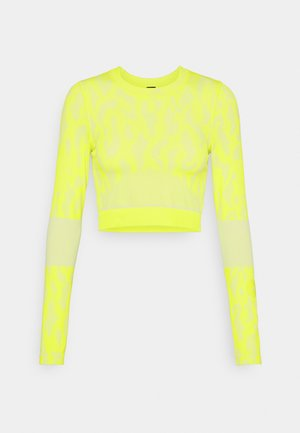 Topper langermet - acid yellow/white