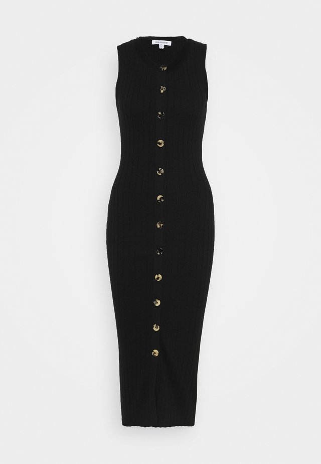 SNAP FRONT MIDI - Strikket kjole - black