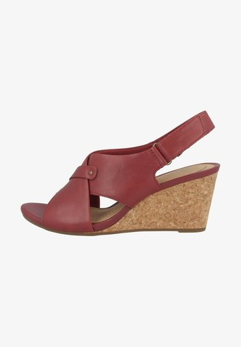 Wedge sandals - red leather