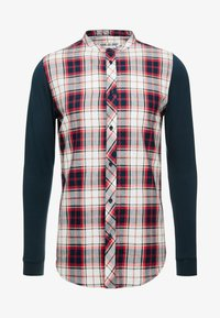 LONG SLEEVE CHECK GRANDAD SHIRT - Košile - grey/red