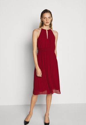 CHAIN NECK MIDI DRESS - Robe de soirée - maroon