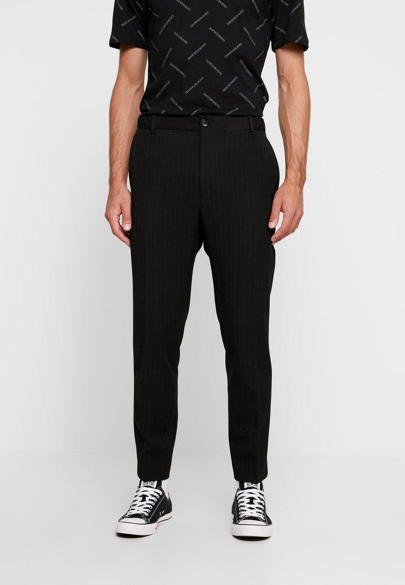 Calvin Klein Tailored - PINSTRIPE TROUSER CASUAL - Trousers - black