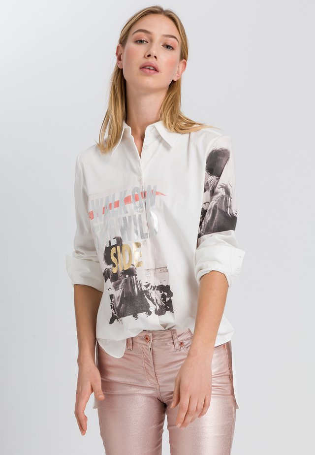 Button-down blouse - off white varied
