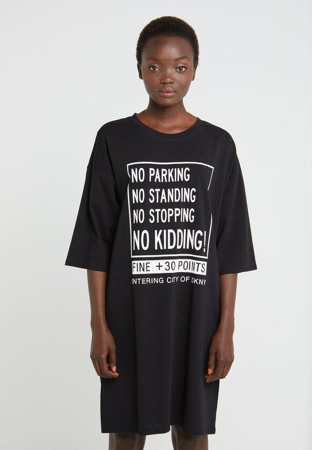 ELBOW CREW NECK DRESS - Day dress - black
