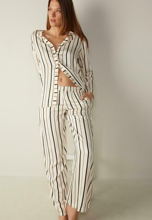 Pyjama bottoms - vanilla riga nero/marrone