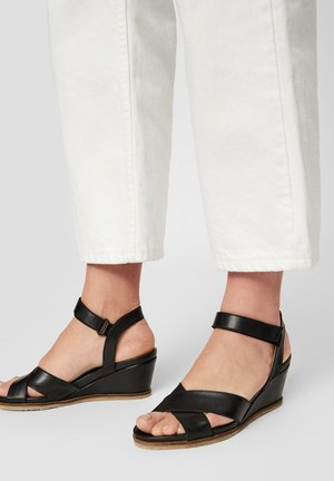 SANDALEN LEDER - Wedge sandals - black
