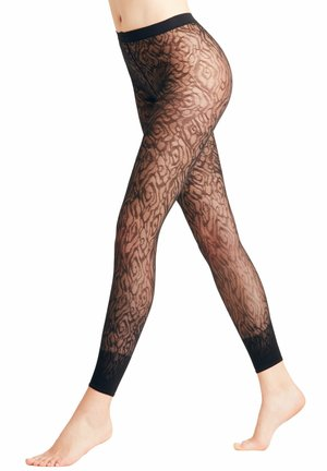 FALKE ZEBRA 20 DENIER  LEGGINGS TRANSPARENT FEIN BRAUN - Leggings - Stockings - marine (6179)