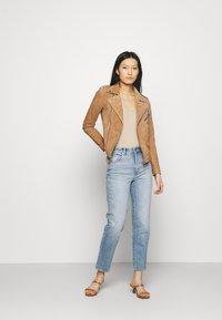 Deadwood - RIVER - Leather jacket - brandy - 1