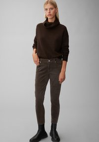 Marc O'Polo - ALBY SLIM - Trousers - dark chocolate - 1