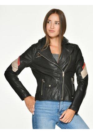 MIT FARBKOMBINATION REEDLEY - Leather jacket - black