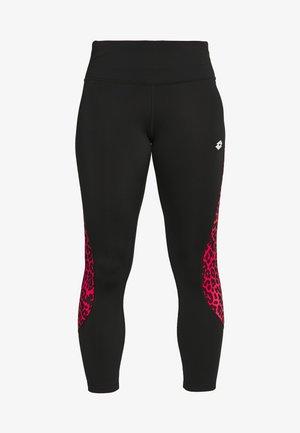 VABENE CAPRI  - Leggings - all black/red fluo